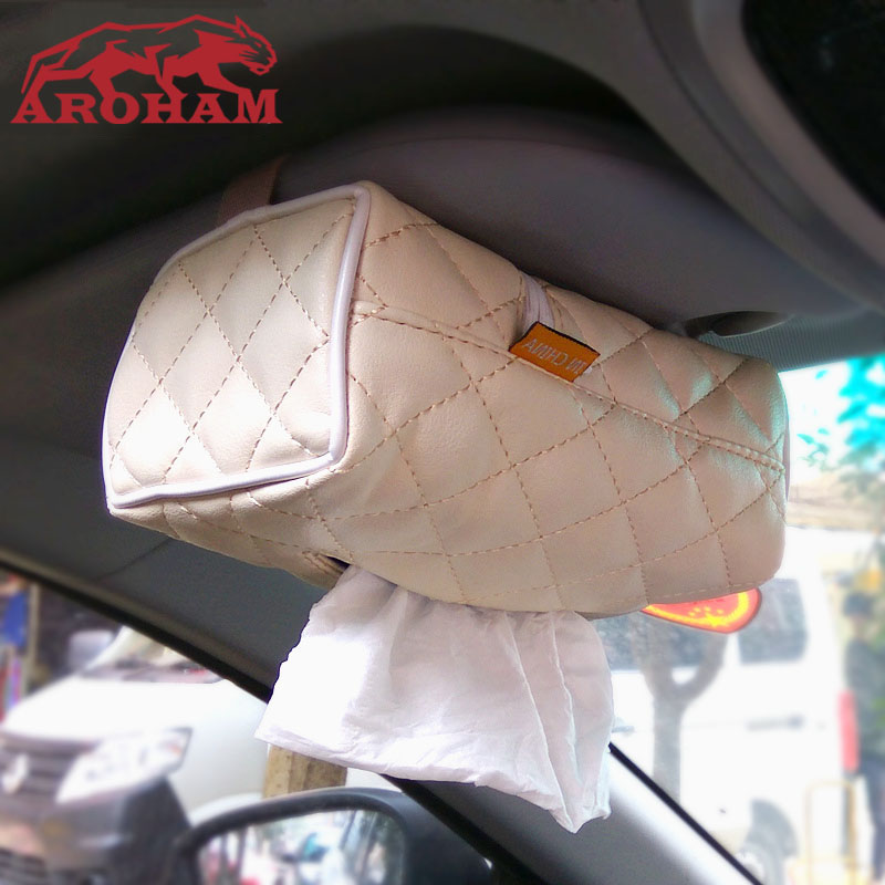 Aroham Car Sun Visor PU Leather Tissue Paper Box Case Auto Interior Decoration Car-styling Napkin Holder Bag Clip Beige