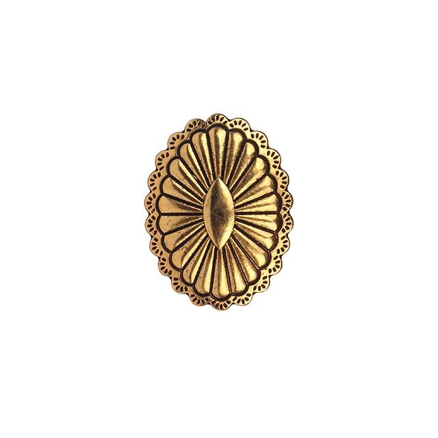 Золотистые шармы из цинкового сплава 34*25 мм 3 шт овальные