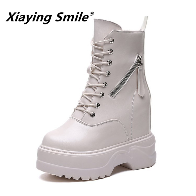 Xiaying Smile Women Heel Boots New Fashion Casual Shoes Winter Female Hell Platform Lace up Zipper