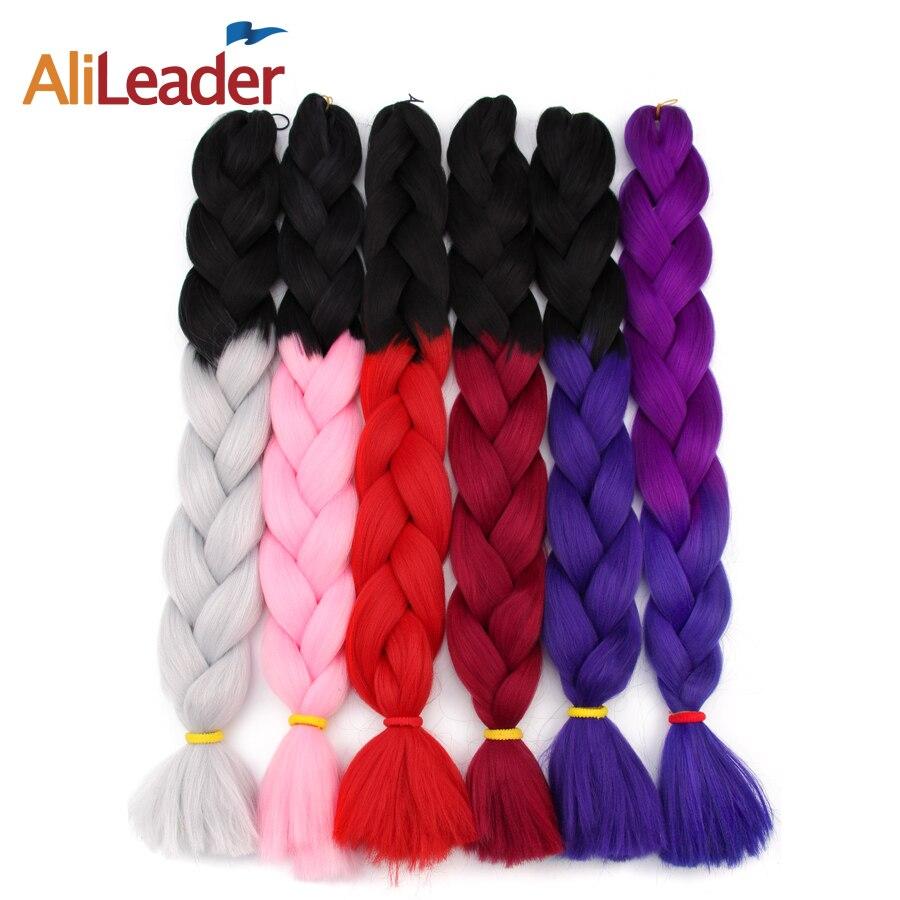 AliLeader 1pcs/lot Xpression Crochet Braids Red White Blue Purple Ombre Kanekalon Jumbo Braid 30 Inch Synthetic Braiding Hair