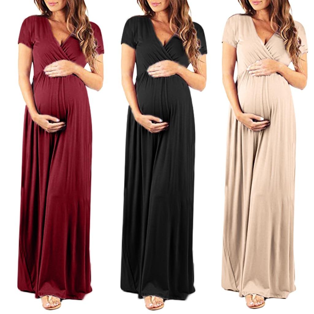 النساء الحوامل فساتين ملابس للحمل النساء الخامس طوق قصيرة الأكمام فستان  الحمل الأمومه فستان الشمس الملابس-Leather bag