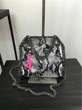 MINI 18 CM Shaggy Deer PVC famous Serpentine pattern steel metal chain crossbody shoulder bag