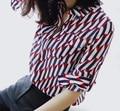 XXL!Tops Fashion Women's Blouses Spring Summer 2017 Ladies Turn-down Collar Geometric Print Long Sleeve Plus Size Silk Shirts