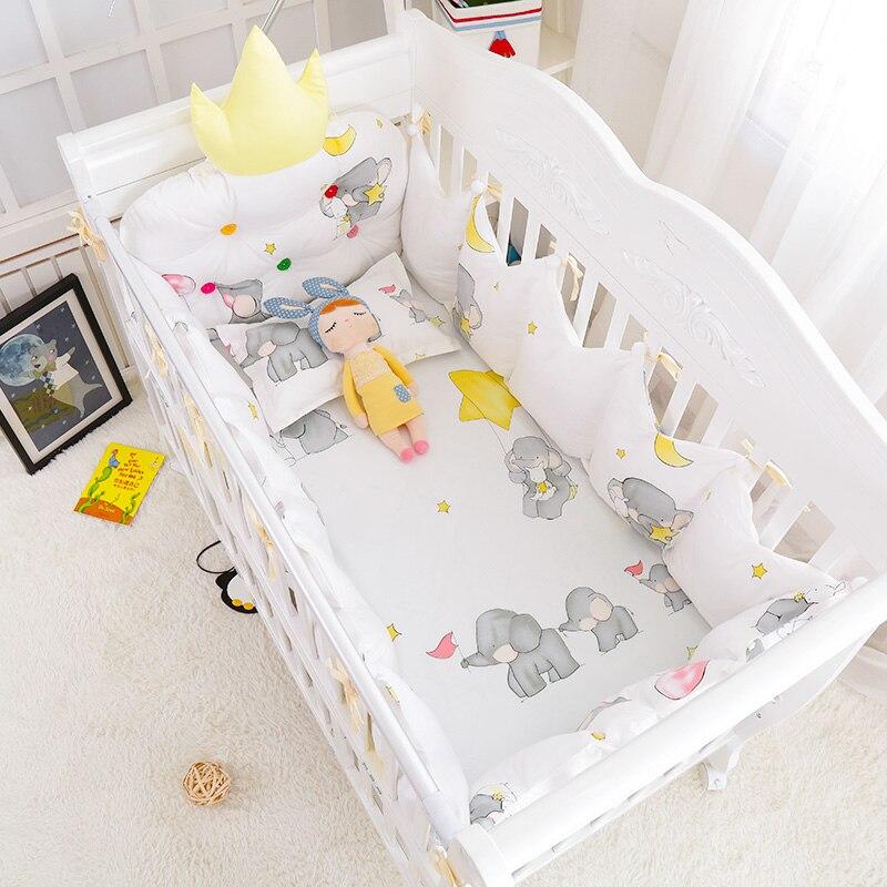 5 pcs/set Winter Warm <b>Baby Bed</b> Cotton Linens Crown Shape ...