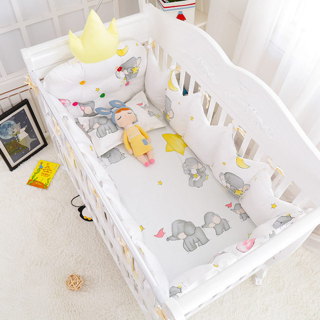 5 pcs/set Winter Warm Baby Bed Cotton Linens Crown Shape Protect Bumpers Baby Cot Bedding Set Crib Bedding 4 Colors Multi Size
