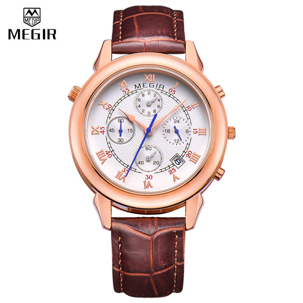 brand watch men 2013 promotion shop for promotional brand watch relogio masculino luxury megir brand leather men s quartz sports watch men wristwatch four dial two face clock on 2013