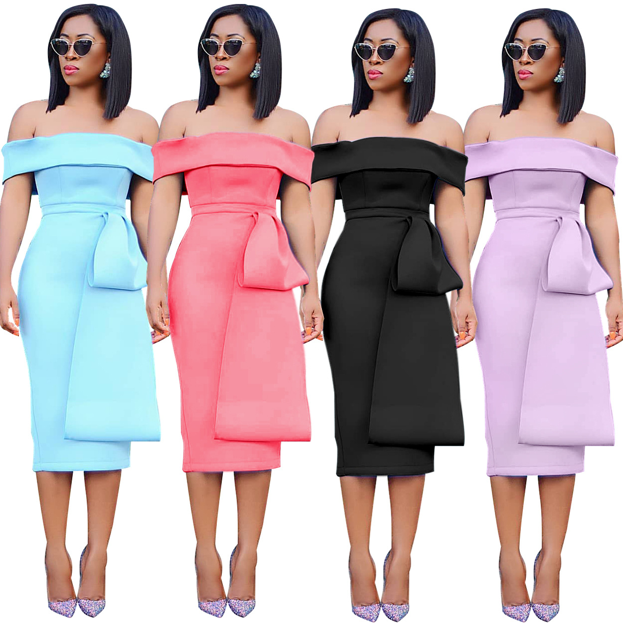 2019 New Arrival Elegent Fashion Style African Women Polyester Plus Size Sleeveless Dress S-XL