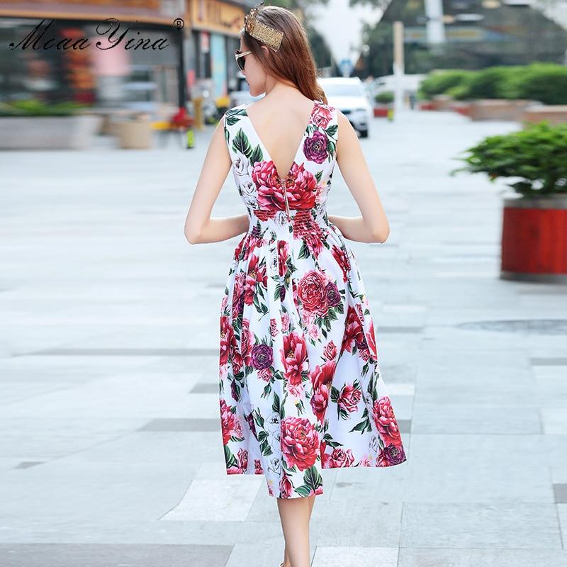 MoaaYina Mode Designer Runway Kleid Sommer Frauen backless Sleeveless Rose Floral Print Elastische taille Urlaub Elegante Kleid-in Kleider aus Damenbekleidung bei  Gruppe 3