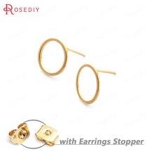 (33710)20 pçs círculo 12mm 24k cor do ouro latão círculo redondo brincos pinos de alta qualidade diy jóias descobertas acessórios