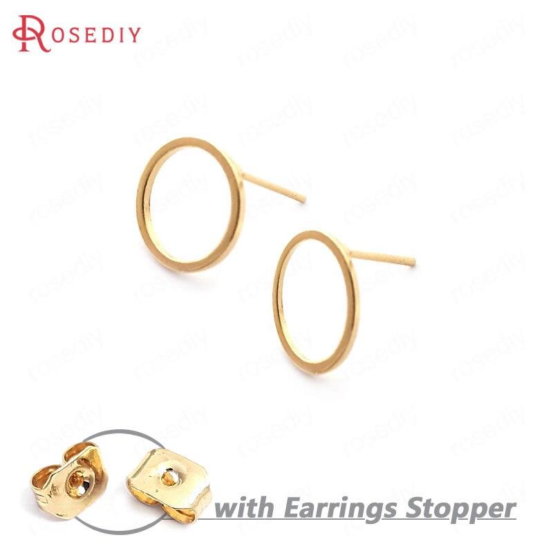 (33710)20PCS Kreis 12MM 24K Gold Farbe Messing Runde Kreis Stud Ohrringe Pins Hohe Qualität Diy Schmuck Erkenntnisse zubehör