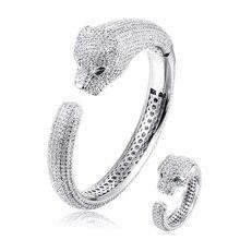 Brand Green Eye AAA Zircon Leopard Bangle & Ring Jewelry Sets for Women Man Luxury Animal Model Wedding Accessories Sets Gifts цена 2017