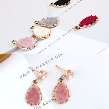 10pcs/lot DIY accessories materials by south Korean alloy mink fur teardrop shaped pendant earrings charm