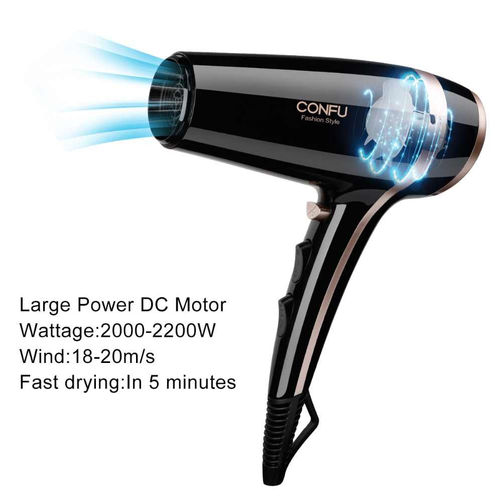 CONFU 2 speed 3 heat settings Household Hair Dryer  220-240V Over heat protection system Hair Dryer with Bag clip comb