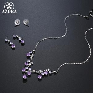 Image 3 - Женский комплект украшений AZORA, набор из ожерелья и сережек с фиолетовыми Фианитами, Свадебный комплект для помолвки, TG0265