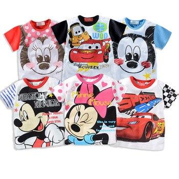 أطفال فتاة سيارات ميكي تي شيرت الصيف طفل رضيع القطن القمم طفل تيز ملابس الأطفال ملابس القمصان عارضة قصيرة الأكمام