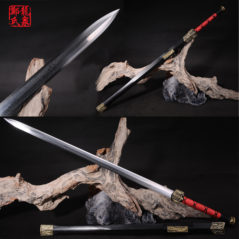 Traditional Chinese Sword Real Folded Steel Antique Bronze Fittings Rose Wood Sheath Home Decoration Martial Art