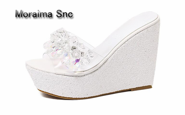 Moraima Snc platform sandals women Luxury Diamond wedges slides bling bling Bohemia summer shoes high heels slippers mujer 2018