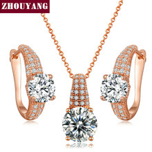 Noble Cubic Zirconia Rose Gold Color / Silver Color Fashion Jewelry Sets Necklace+Earring For Women Working Parity ZYS379 ZYS380
