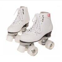 Роликовые коньки из натуральной кожи двойной/две линии скейт розовый Для мужчин Для женщин взрослых PU 4 мигает/Led колеса на коньках обувь