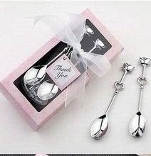 Free shipping wholesale wedding gift /Valentine's Day Love Heart  Spoons,coffe spoon,2pcs spoon in one gift box packing