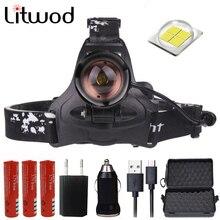 Litwod Z30 CREE XLamp XHP70 светодиодный налобный фонарь, мощный налобный фонарь, зум-объектив, 18650 перезаряжаемый аккумулятор, Головной фонарь, фонарь