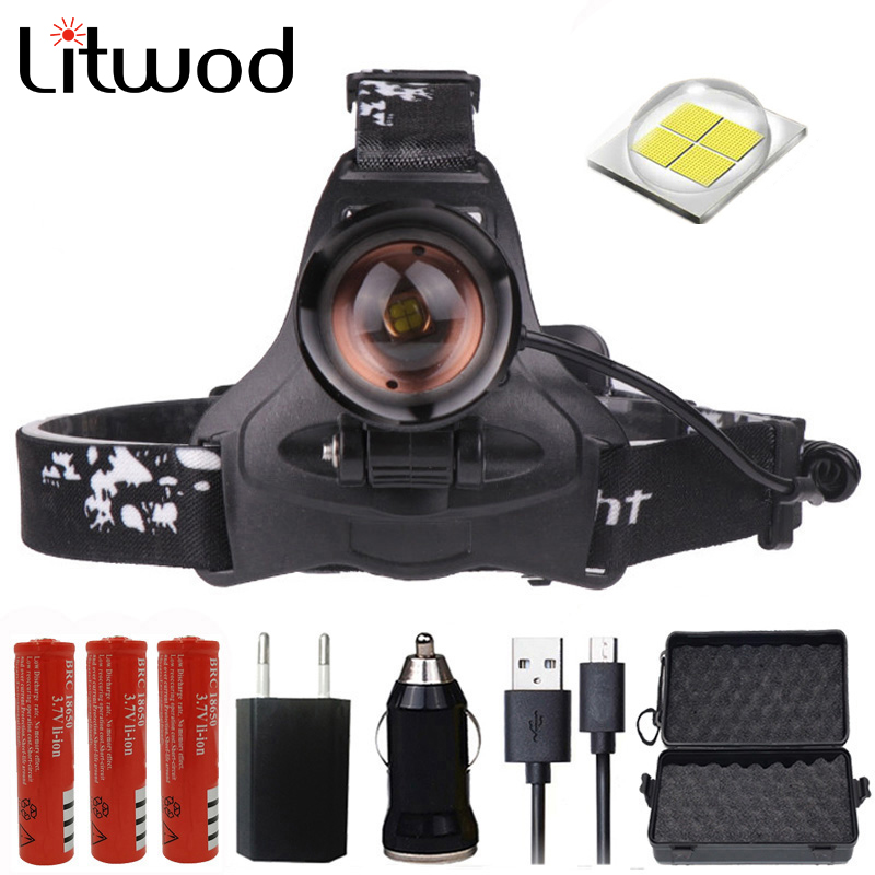 Litwod Z30 CREE XLamp XHP70 LED headlamp Powerful headlight zoom lens 18650 rechargeable battery head flashlight lamp torch(China)