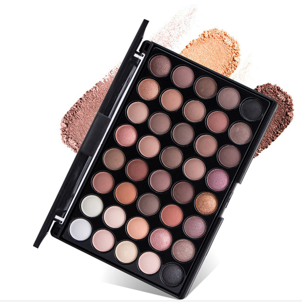 Eye Makeup Nudes Palette 40 Color Matte Eyeshadow  Glitter Powder Eye Shadows Earth Brush Set Stamps Pigment