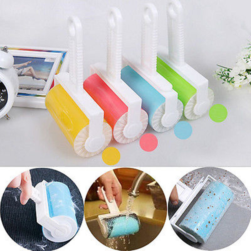 Random Color Washable Cleaning Brushes Roller Cleaner Lint Sticky Picker Pet Hair Clothes Fluff Remover Reusable Brush