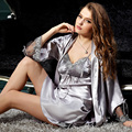 XIFENNI Brand Satin Silk Bathrobes Two-Piece Robe Sets Embroidery Lace Women Nightdress Long-Sleeve Faux Silk Pijama 8203