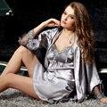 XIFENNI Marca Satén Albornoces de Seda de Dos Piezas Conjuntos de Traje Bordado de Encaje Camisón de Las Mujeres Pijamas de Seda de Imitación de Manga Larga 8203