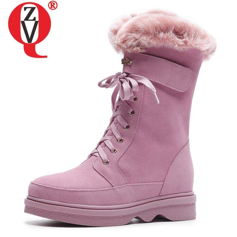 ZVQ mignon cuir bottes de neige 2019 hiver lapin cheveux extérieur randonnée femmes plate-forme chaussures laine rose mi-mollet bottes