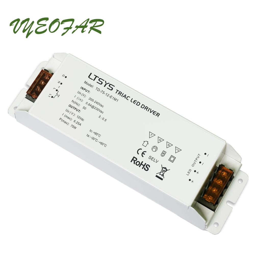 Triac Dimmable LED Driver TD-75-12/24-E1M1 Led Triac Power Driver 100-240V input,Output 75W constant voltage Triac Push Dim kvp 24200 td 24v 200w triac dimmable constant voltage led driver ac90 130v ac170 265v input