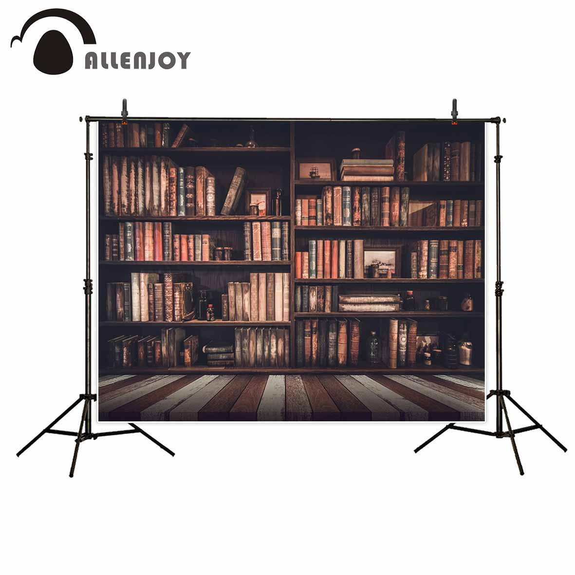 Allenjoy bookshelf wood floor vintage photo backdrop board library school indoor Newborn baby photography background photobooth allenjoy photography backdrops library bookshelf school student study room books photocall baby shower