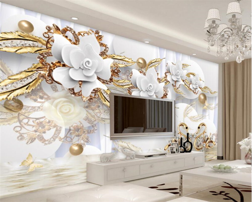 Beibehang Custom home decoration wallpaper circle luxury gold white flowers ball jewelry wallpaper for walls 3 d papel de parede