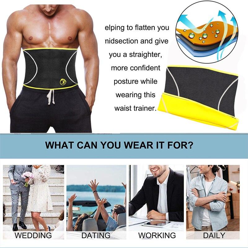 Image 4 - NINGMI Male Body Shaper Slim Waist Trainer Cincher Corset Neoprene Sauna Modeling Belt Shapewear Strap Girdle Slimming Underwear-in Shapers from Underwear & Sleepwears on AliExpress