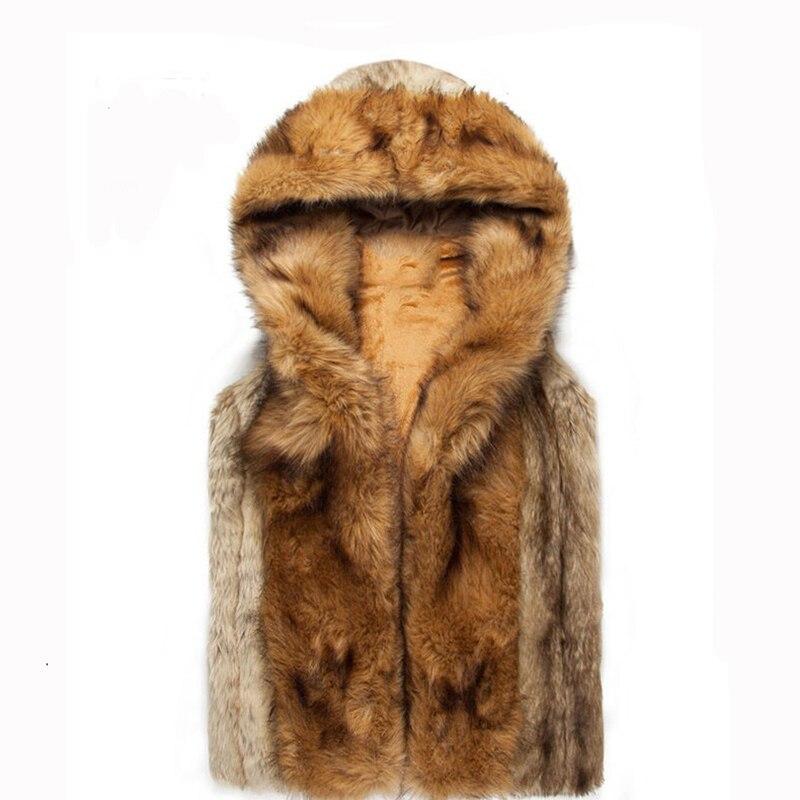 Homens da moda Colete Faux Fur Colete Hoodies Inverno Jaqueta Sem Mangas Com Capuz Outerwear Fino Colete chaleco hombre