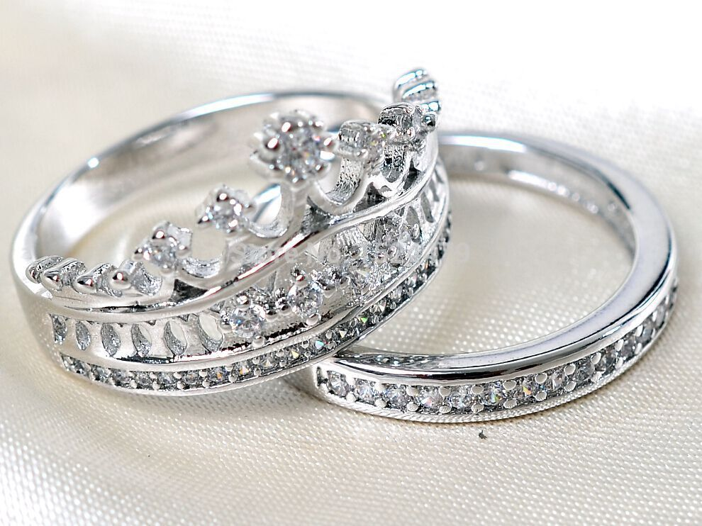 free shipping size5 11 coronet lady enement ring set queen - Crown Wedding Rings