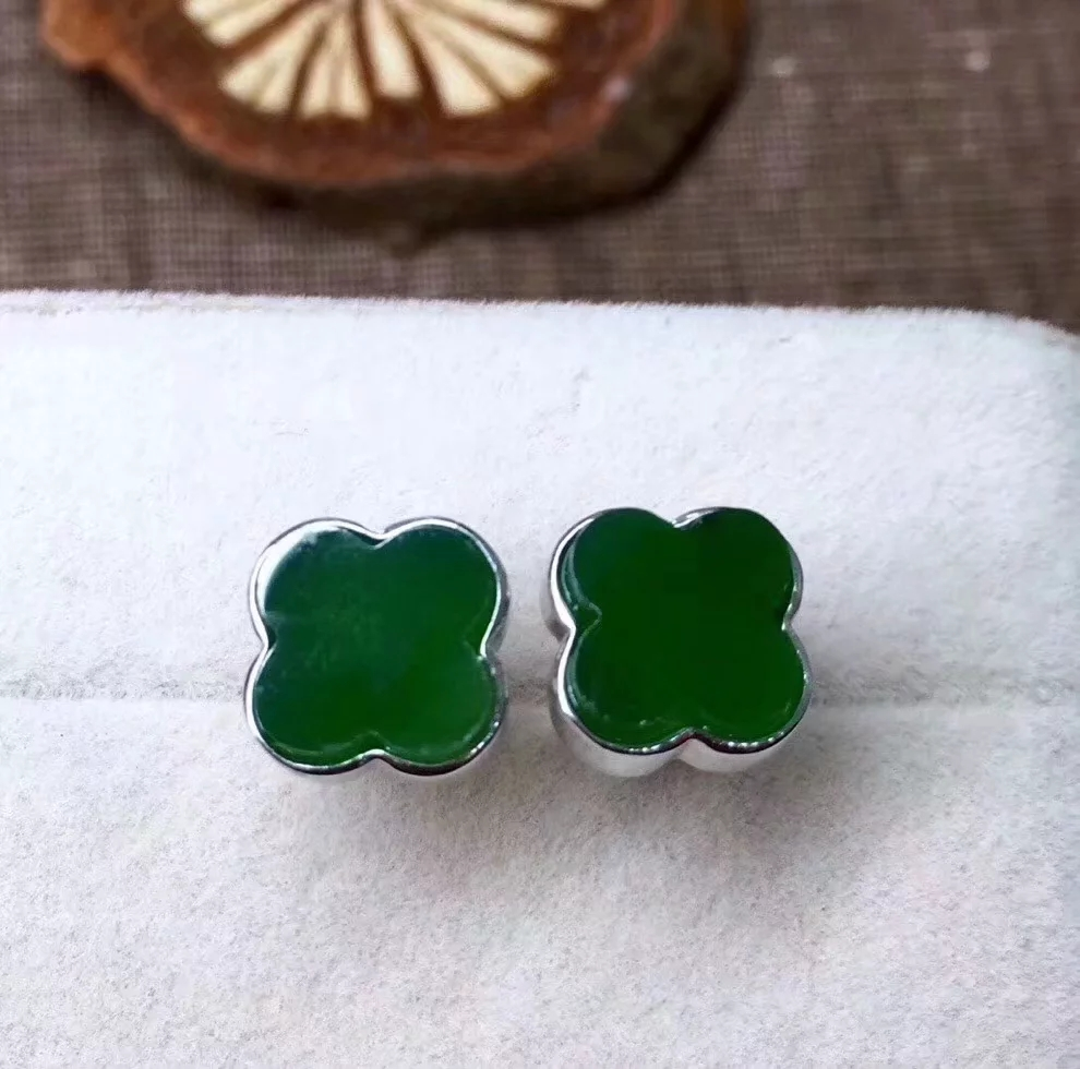 Siccsaee Classic Silver Stud Earrings Flower Shape Girl Ear Studs For Women Green Color Fashion Jewelry For Elegant Lady