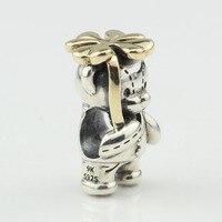 S925 стерлингового серебра четыре листа клевера золотой костюм медведь бисер Fit ювелирный браслет сделай сам делать подарок Бесплатная доста