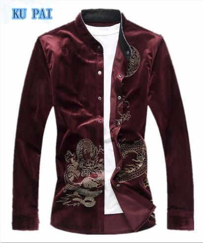 2017 spring Chinese wind printing gold velvet shirt male XL code retro collar collar shirt youth