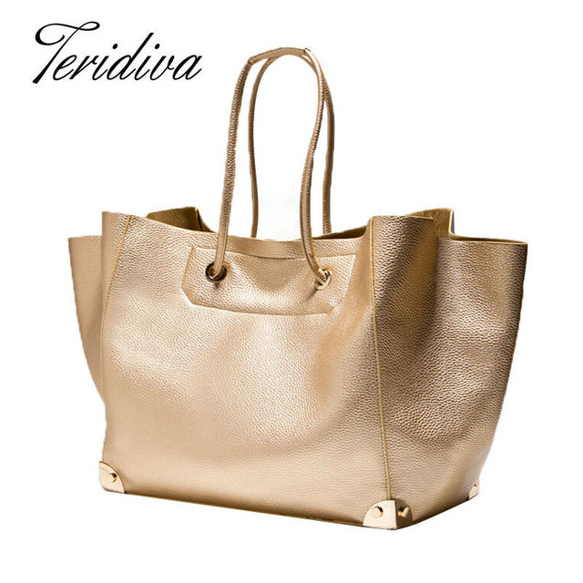 Teridiva Big Shoulder Bags for Woman Bags Fashion 2017 Women Large Tote Bag Gold Bag Ladies Handbag Famous Brands Bolsas Mujer