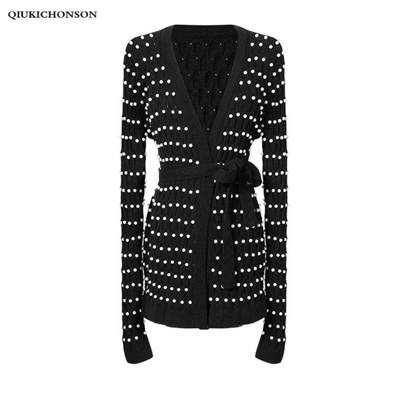 8d736abe3e81c Elegant Ladies Pearl Sweaters Cardigan Spring Autumn Long Sleeve Beading  Knitted Tunic V Neck Sweater Jacket