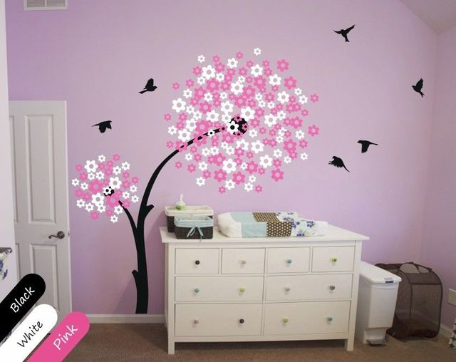 modern baby nursery wall decals, tree wall decal, blossom decal