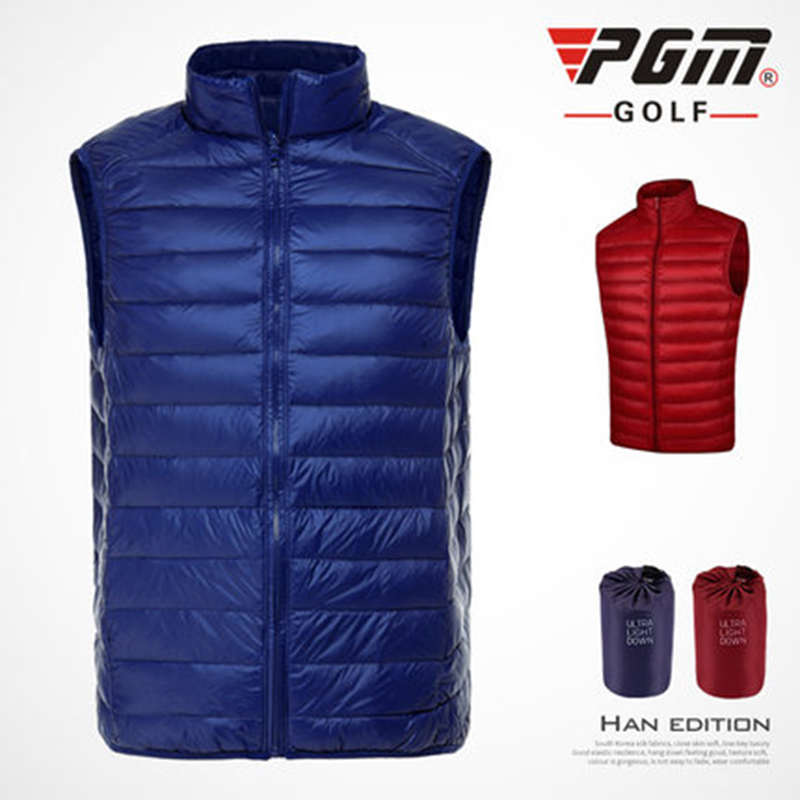 PGM Golf Vest For Men Duck Feather Down Jacket Man's Sleeveless Golf Sportswear Ultra Light Windproof Man's Waistcoat Golf Vest
