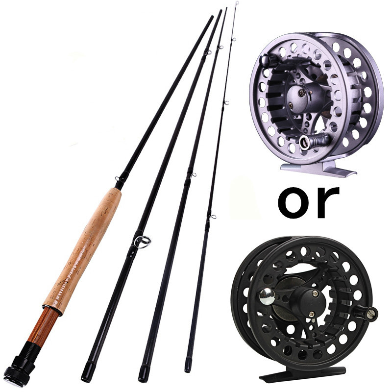 2.7M 4 Sections Fly fishing Rod With Fly Rod Reel 5/6 Super Light Carbon Fishing Pole Bamboo Fly Fish Combo Set sougayilang 2 7m fly fishing rod with silver black reel 4 sections red carbon fiber material fly fishing set fly rod bamboo