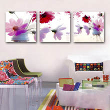 3 Panels Purple and Red Daisy Flower Oil Painting Larger Wall Art for Living Room Decoration on Canvas Print