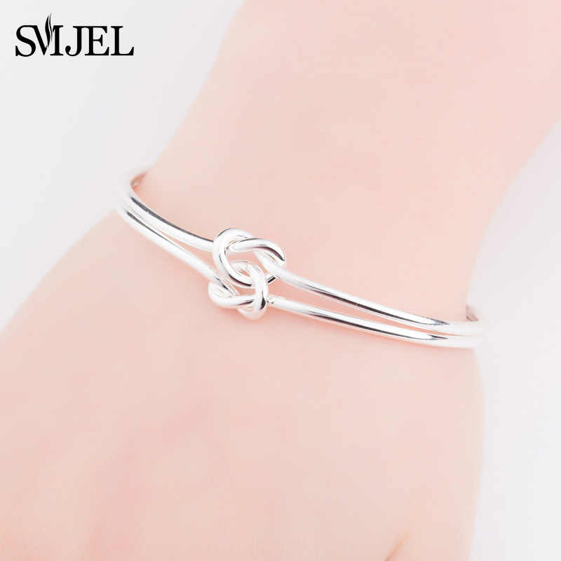 SMJEL New Fashion Double Knot Bangle Bracelet For Women Gold-Color Metal Jewelry Lover Bangle Wedding Gifts Pulseiras
