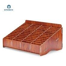 PHONEFIX Wooden Desktop 48 Storage Box Multifunctional Storage Box for Cell Phones Holder Desk Supplies Organizer