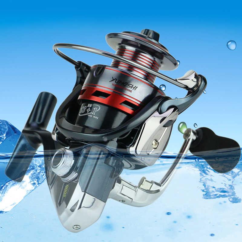 YUMOSHI المعدني الكامل لفائف إغراء البحر الصيد بكرة 13 + 1BB 14BB غابليس المحيط يطير روك الصيد الغزل عجلة XS1000 -7000