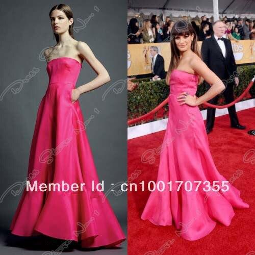 celebrities red carpet pink dress